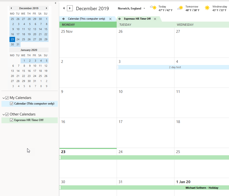Absences in Outlook Calendar View